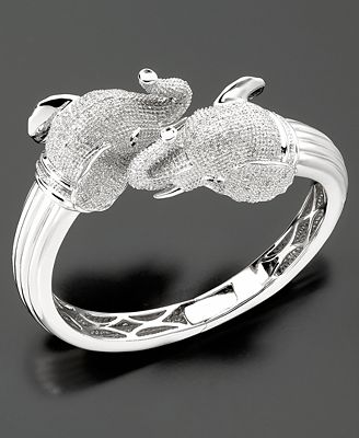 Sterling Silver Diamond Elephant Bangle Bracelet