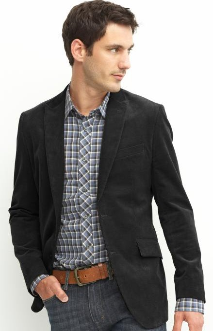 Tailored corduroy two-button item blazer