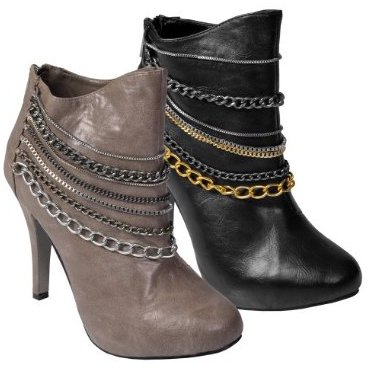 Womens Journee Collection Chain Trim High Heel Bootie