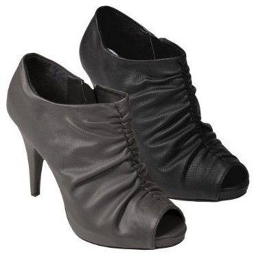 Womens Journee Collection Crinkled Vamp Peep Toe Bootie