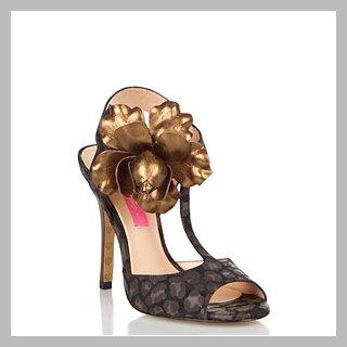 Betsey Johnson Lacy Black Leopard Fabric Sandal