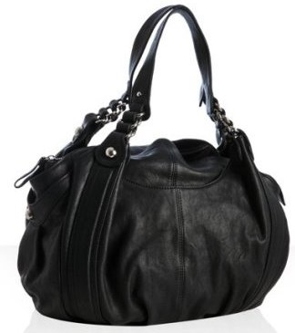Black leather Roberta rounded shoulder bag