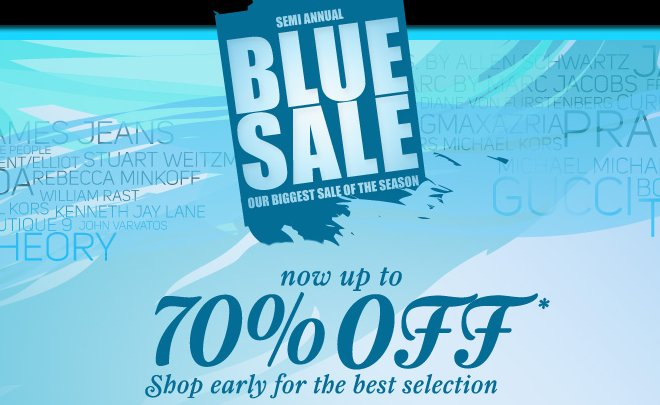 bluefly Semi Annual blue sale