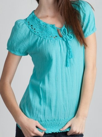 Crocheted Neck Gauzy Blouse