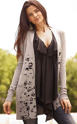 floral open cardigan
