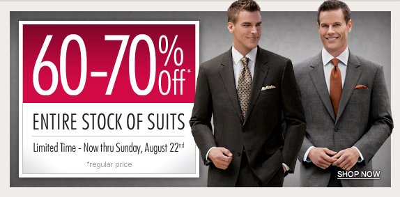Jos A Bank Offer: Save 70% on all Suits