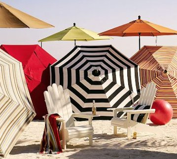 Sunbrella Round Umbrella–Stripes
