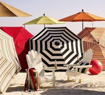 Sunbrella Round Umbrella–Stripes