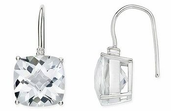 White Topaz and Diamond 14K White Gold Earrings