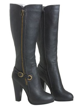 Exposed Zipper Side Buckle Knee Boot