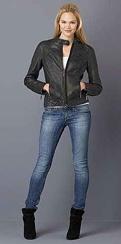 MICHAEL KORS Seam-Detail Short Leather Jacket