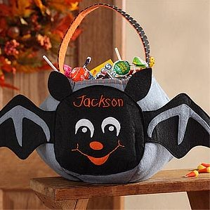 Batty Bat Embroidered Trick or Treat Bag