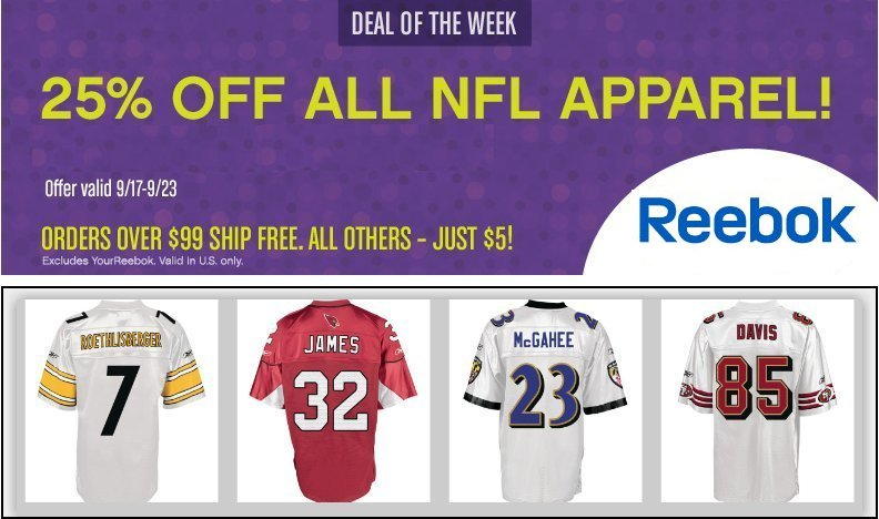 Reebok NFL Apparel 25% off