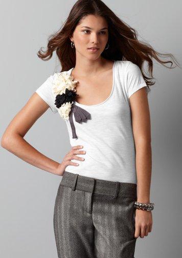 Petite Grosgrain Tie & Flower Tee
