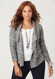 Metallic Knit Draped Cardigan Sweater
