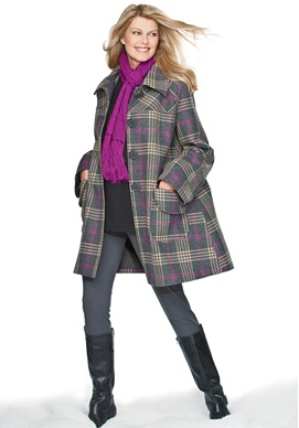 Wool plaid A-line jacket by Chelsea Studio