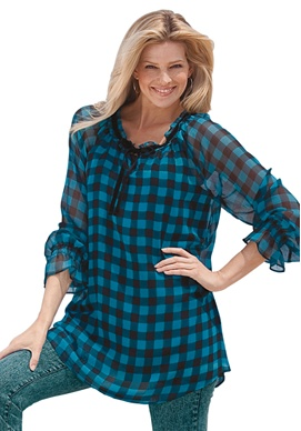Buffalo plaid georgette tunic