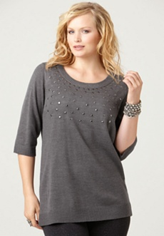 Studded Scoopneck Sweater
