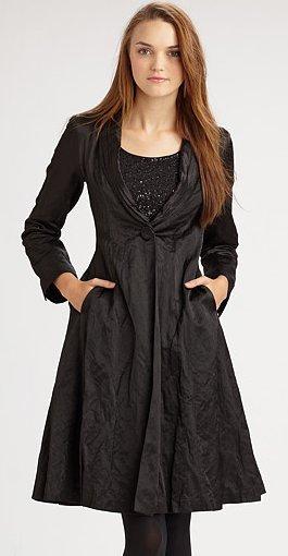 Eileen Fisher Steel Satin Shawl Collar Coat