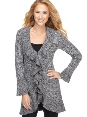 Alfani Sweater, Marled Tie Front Cardigan