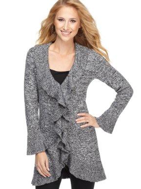 Alfani Sweater, Marled Tie Front Cardigan