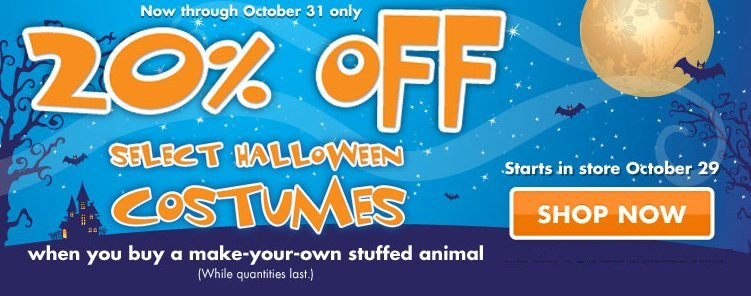 build a bear halloween offer