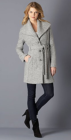 calvin klein single-breasted belted wrap coat