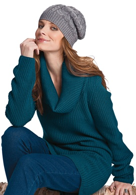 Cowl neck shaker pullover sweater