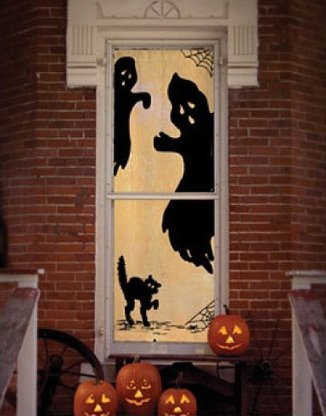 Ghost Halloween Scenic Door and Window Panel