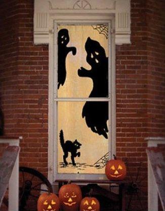 Ghost Halloween Scenic Door and Window Panel