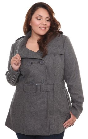 grey belted coat with hood