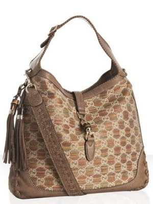 gucci light brown leather trim woven new jackie large hobo