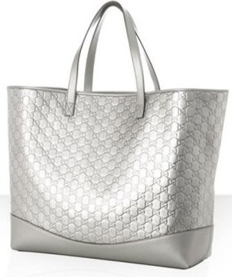 gucci silver guccissima leather travel tote