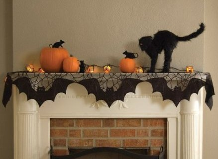 Halloween Bats Black Lace Mantle Scarf