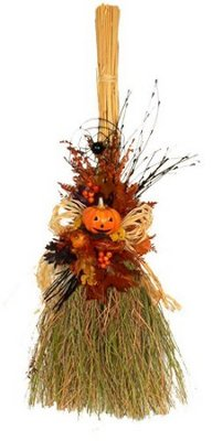 halloween dried floral broom
