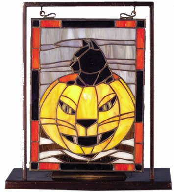 Halloween Lighted Mini Tabletop Window Stained Glass