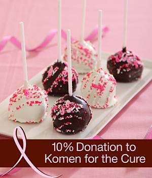 Hand-Decorated Pink Ribbon BrowniePops