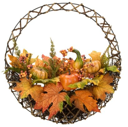 Mixed Maple Berry Pumpkin Wreath