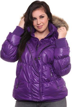 purple fur hoodie puffer jacket