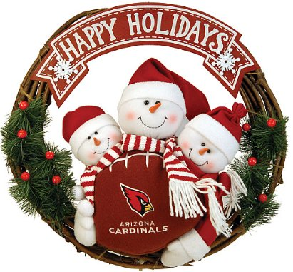 SC Sports Arizona Cardinals Snowman Wreath