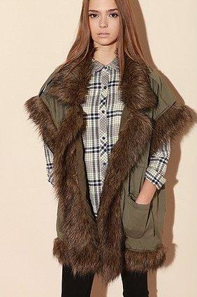 Shakuhachi Faux-Fur Surplus Vest