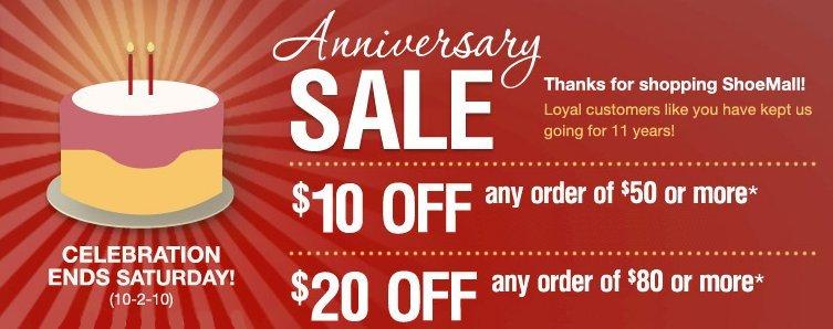 Shoe Mall Anniversary Sale