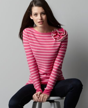 Striped Sweater with Corsage
