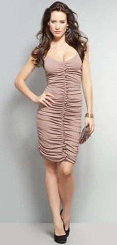 NYandC Red Label Shirred Spaghetti Strap Dress