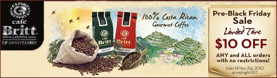 Cafe Britt Pre-Black Friday Sale