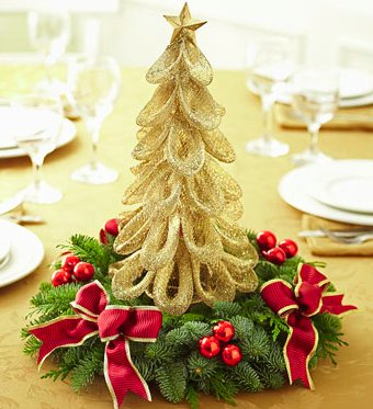Classic Holiday Gold Tree Centerpiece
