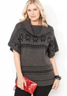 Embellished Printed Cowl Neck Sweater