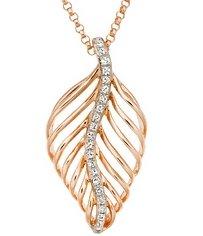 Gold Diamond Leaf Pendant