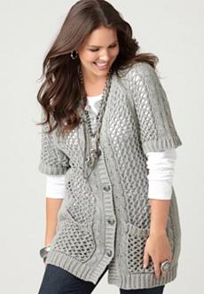 Open Stitch Cardigan Sweater