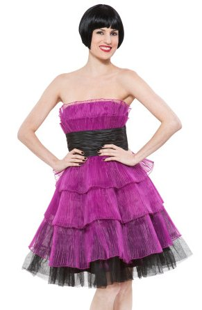 PLEATED ORGANZA TIERED EVENING DRESS